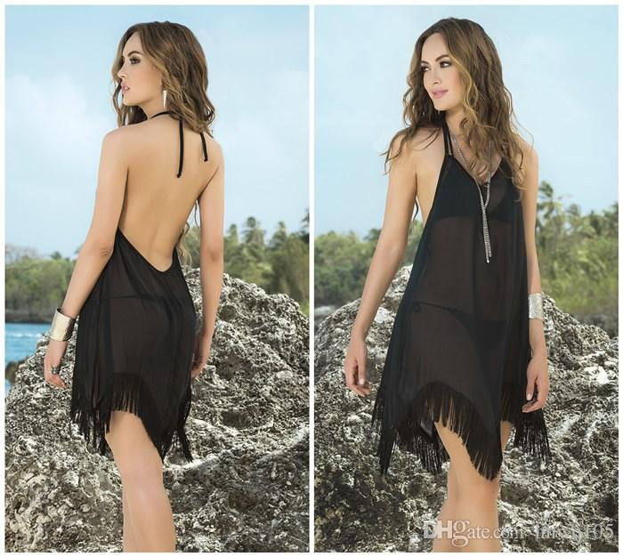 f9f1e173b9 Western Style Black Tassels Chiffon Beach Dress Sexy Halter Backless Bikini  Cover-Ups Transparent Beachwear