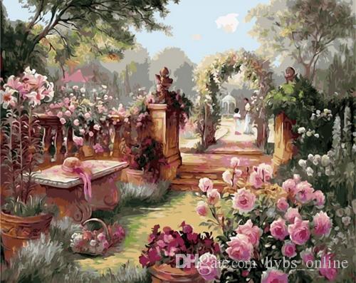 Gerahmte reine handgemaltes Landschaftskunst-Öl The Royal Garden Malerei. On High Qudlity Leinwand-Hauptwand-Kunst-Dekor-Mulitiple Größen
