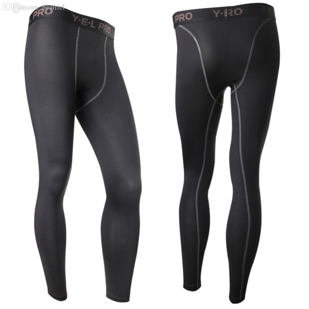 Venta al por mayor: nuevos pantalones de capa de la base de compresión de los hombres largos ajustados en la piel en el fondo del engranaje de ropa deportiva