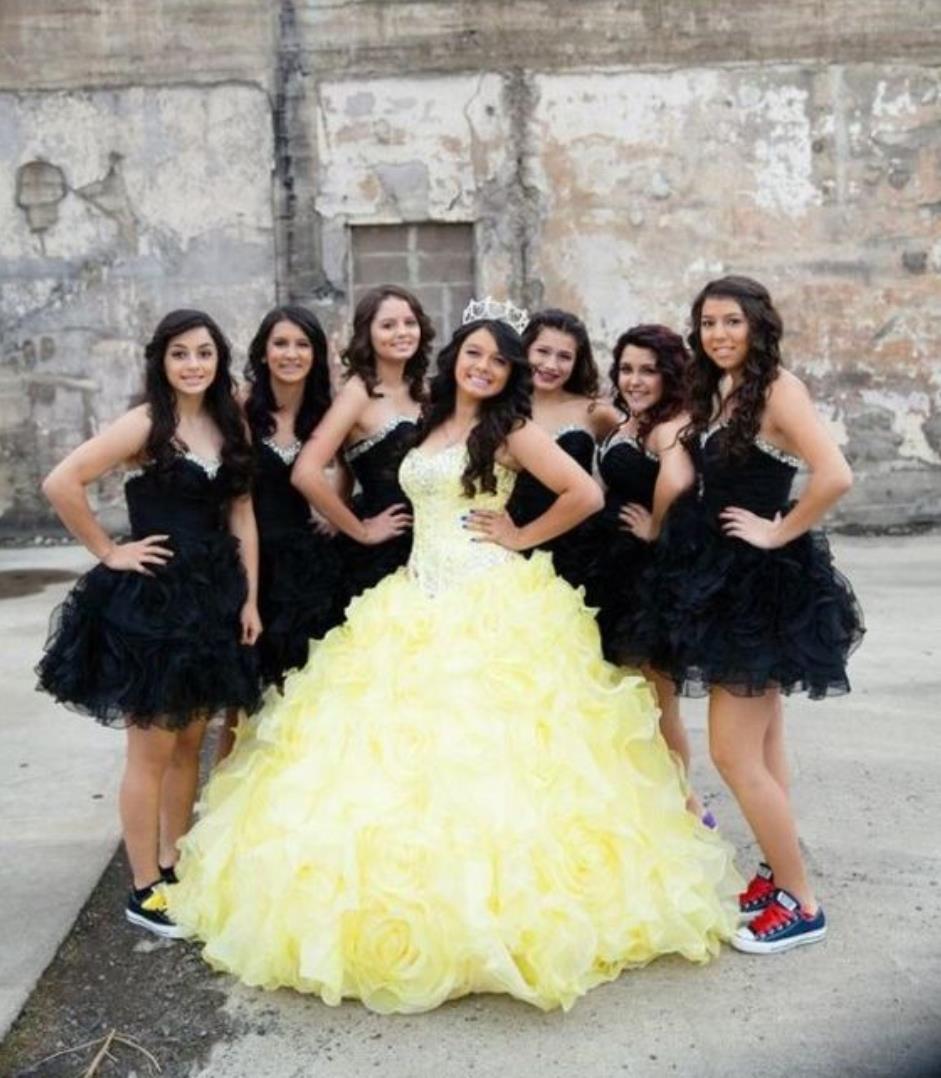 Maravilloso amarillo Ragazza vestidos de quinceañera 2016 Sweetheart Ruffles Sweet 16 Girl Debutante Masquerade Prom vestidos de baile por encargo barato