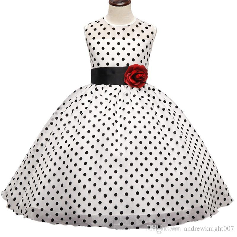 Kids Girl Black Polka Dot Summer Dress Baby Girls Princess Events Party Dress Wedding Gown for Children Clothing Girl 3-10 Years DK1038CR