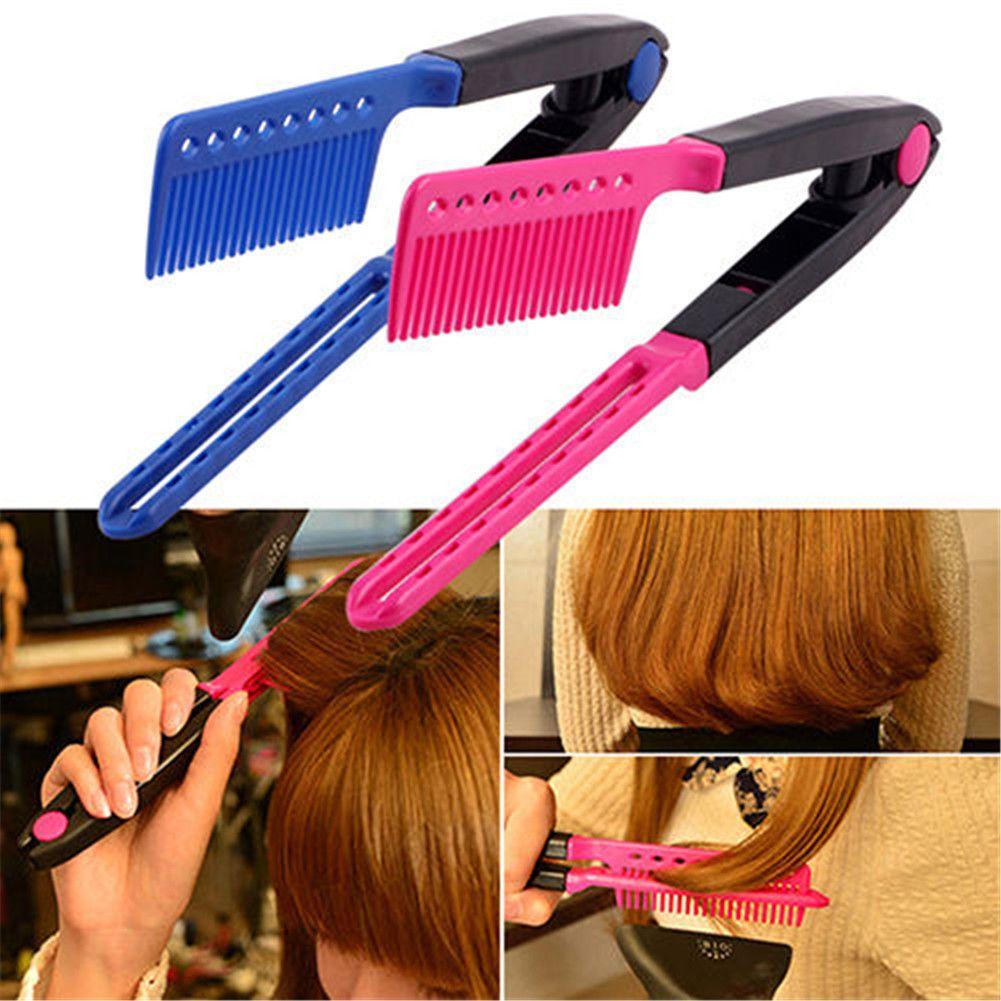 Style Hair Straightener Fair 2 X Diy Salon Hair Dress Styling V Comb Hair Straightener .