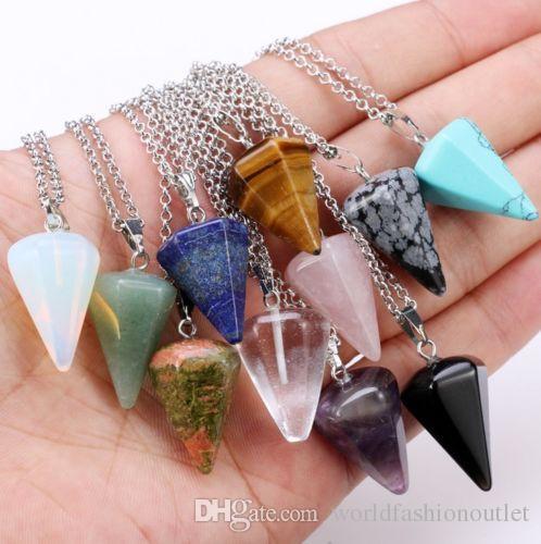 Gemuno naturale Cristallo Guarigione Chakra Reiki Argento Pietra Pendente Collana Collana perlina esagonale Prisme cono Pendutum Pendants Crystals 10 Colors