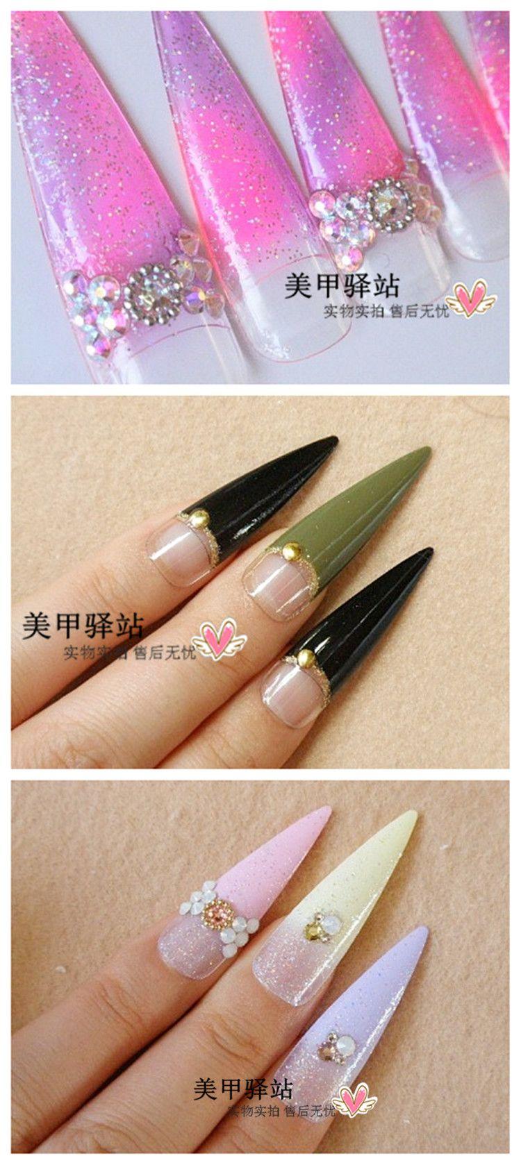 Manicure Diy Fake Nail A Set Of 10 Semi Transparent Natural Color ...