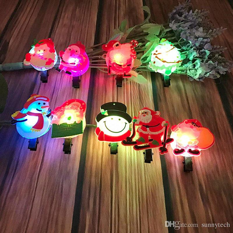 Cute Flashing Light Up LED Santa Claus Snowman Design Hair Clip Hairpin For Kids Girls Glow Party Christmas Decor ZA5292
