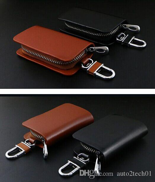Les chaînes de haute catégorie clé de voiture de cas en cuir haut de gamme voiture clés avec porte Zipper Wallet Sac à distance des accessoires de couverture clé pour presque modèles