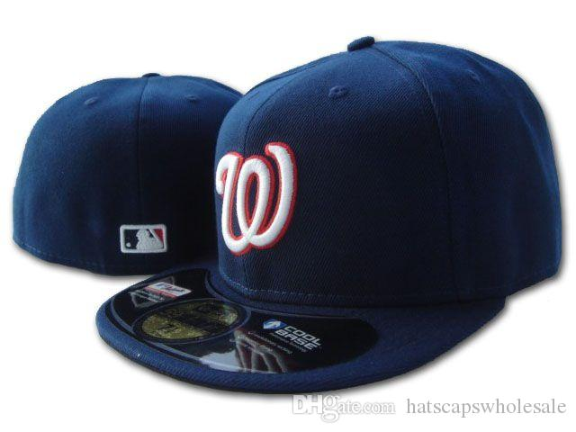 Men's Nationals Navy Blue On Field Style Baseball Fitted Hats Sport Team Letter W Logo Embroidery Full Closed Caps Out Door Fashion