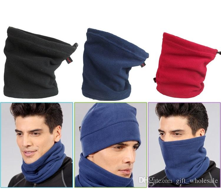 Plain Multifunction Thermal Hooded Hat Neck Warmer Snood Scarf Knit Hood