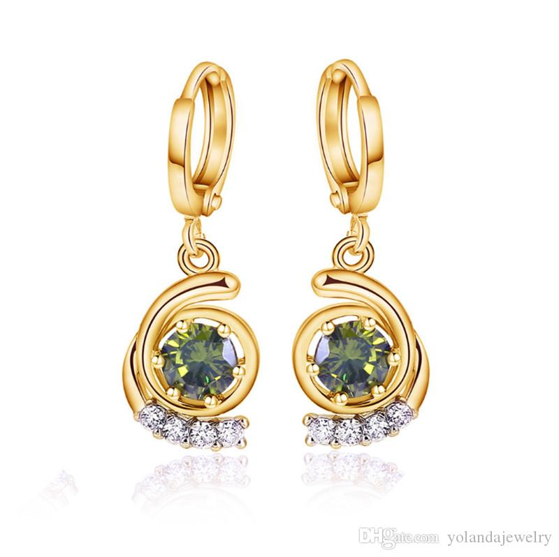 Yolanda Jewelry 2016 Pendientes delicados coreanos Pendiente fino Clip Verde Claro Pendientes CZ Joyería de moda para promocionales