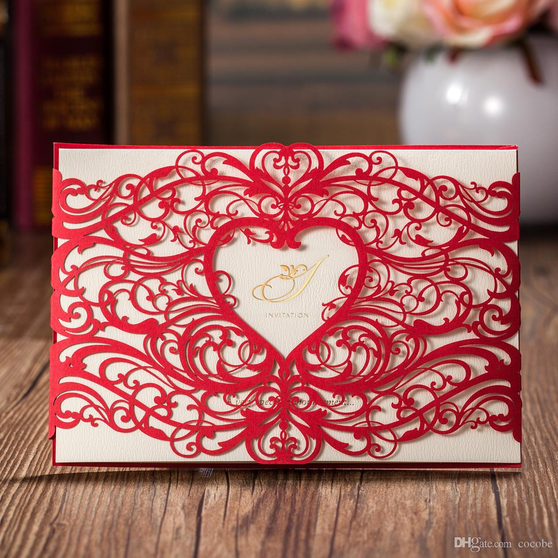 Laser Cut Wedding Invitations Cards Red Invitations Card for Birthday Party Favors Free Customizalbe Inner sheet CW5017