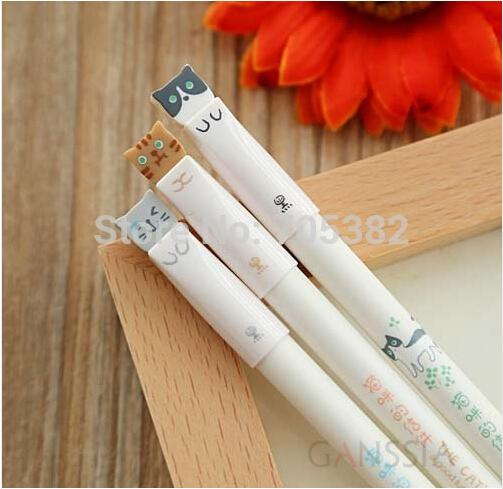 Wholesale-Kawaii animal series gel pen Cute cat pens for Writting Office supply Stationery cat pen (ss-a428)