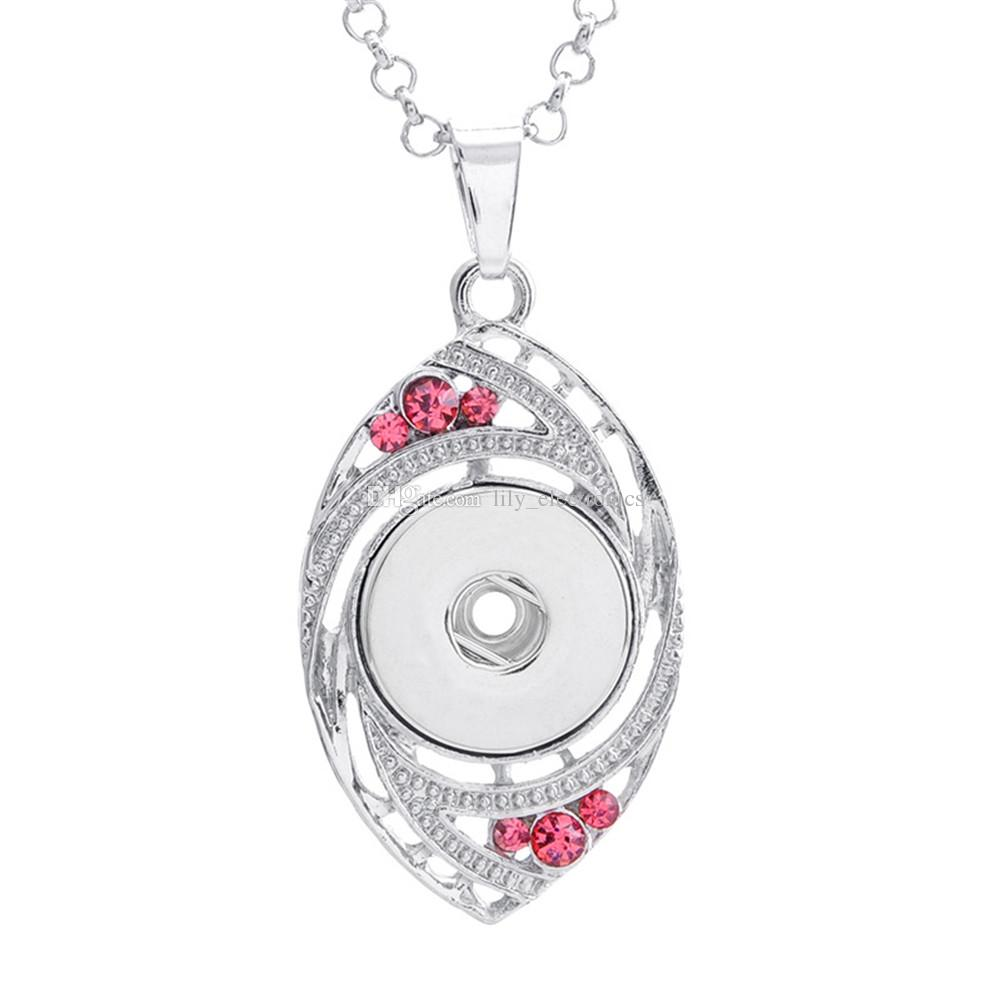 Alloy Snap Button Eye with Crystal Charm Pendant For DIY Making Jewelry Findings Fit 18MM Noosa Chunks