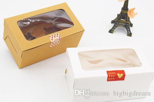 Vente en gros de 2 boîtes à gâteaux avec fenêtre, boîte à gâteaux en papier blanc / artisanat 16 * 9 * 7.5cm, petite boîte à muffins