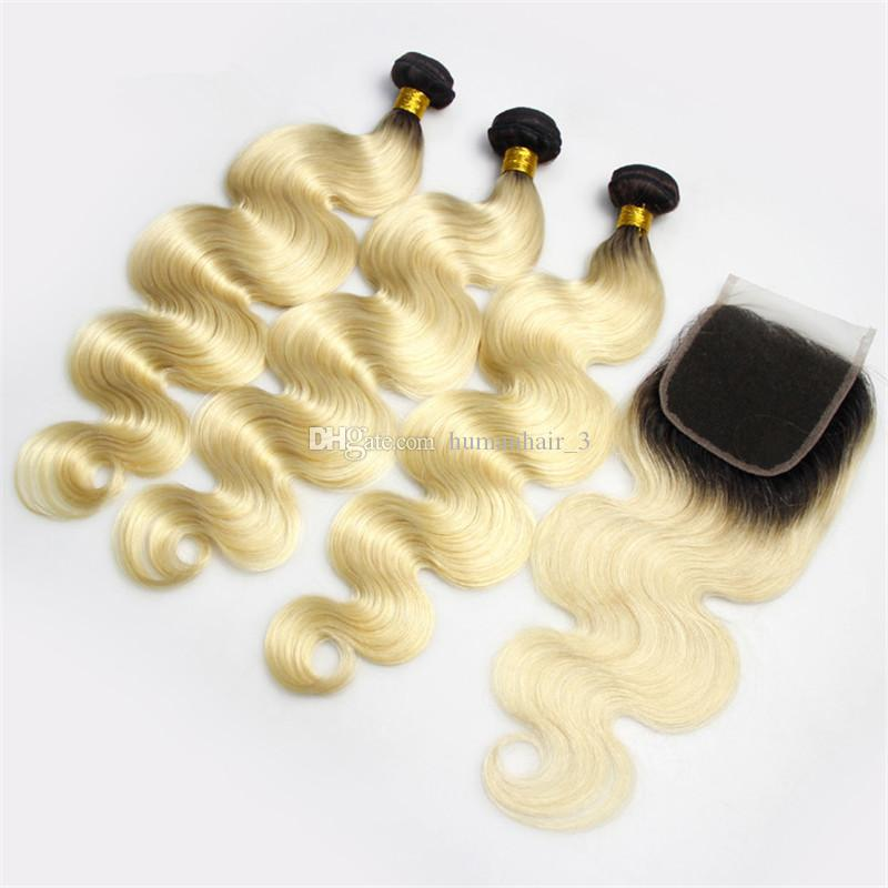 الجسم موجة شقراء أومبير نسج مع إغلاق الدانتيل 1b 613 أومبير 3 حزم الماليزية عذراء الشعر مع 4 * 4 أعلى إغلاق حزم اثنين من لهجة
