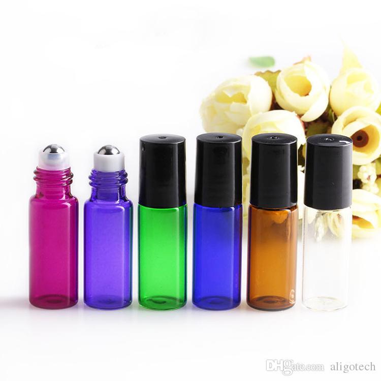 6Colors Choice !!! 5ml 1 / 6OZ Grube szklane rolki na olejku eterycznym Puste butelki perfum z rolką ze stali nierdzewnej DHL DHL