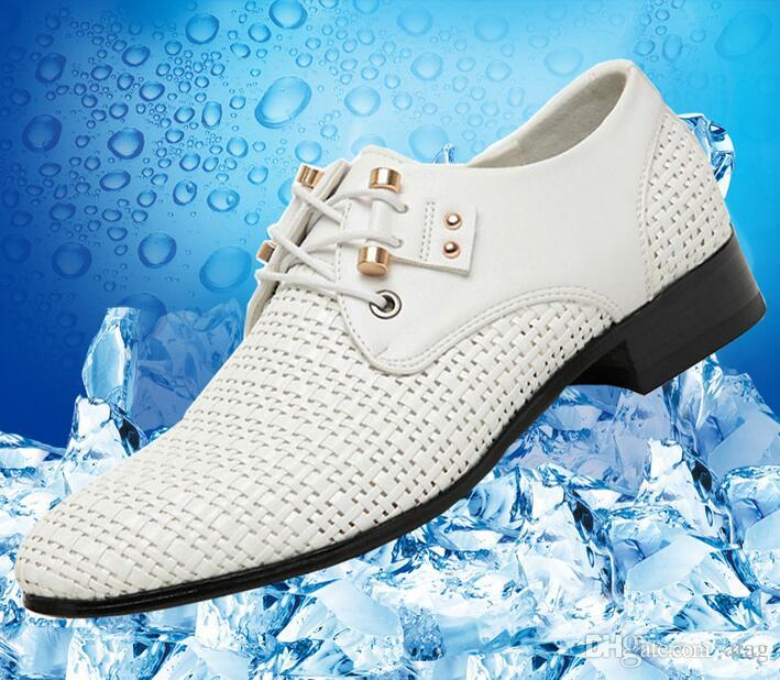 Verão mais recente mens dress shoes homens preto / branco respirável oco out sapatos de couro para apartamentos dos homens casual sandálias de couro NLX329