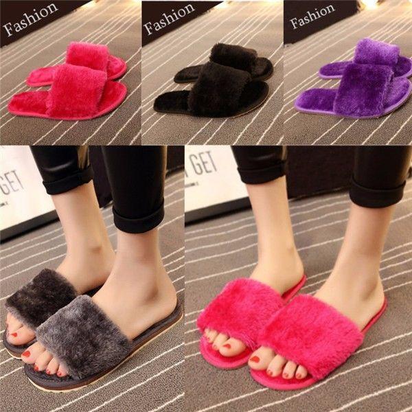 Las nuevas mujeres de invierno cálidas Home Hotel Flats Antideslizante esponjoso en el interior de Soft Fleece Slipper Open Toe Shoes Zapatillas Zapatillas Red Black Purple Blue
