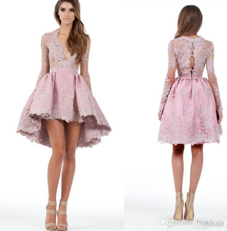 2016 Sheer Long Sleeves Eine Linie High Low Cocktailkleider Tiefer Ausschnitt Spitze Applique Homecoming Kleider Kurze Mini Prom Kleider Benutzerdefinierte