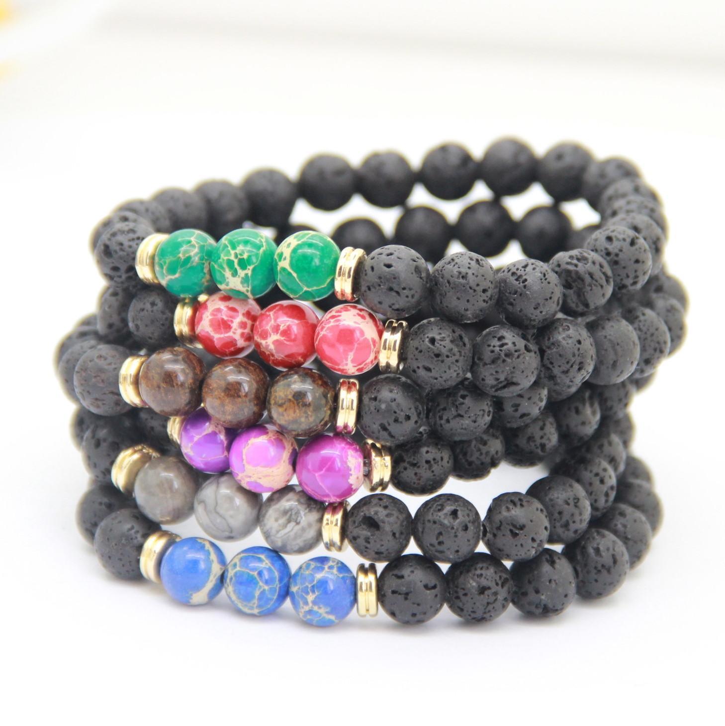 Nouveau couple Bracelet de haute qualité Noir Lava Bijoux Pierre mer Sédiments Imperial Perles femmes stretch Yoga Hommes énergie Bracelets cadeaux