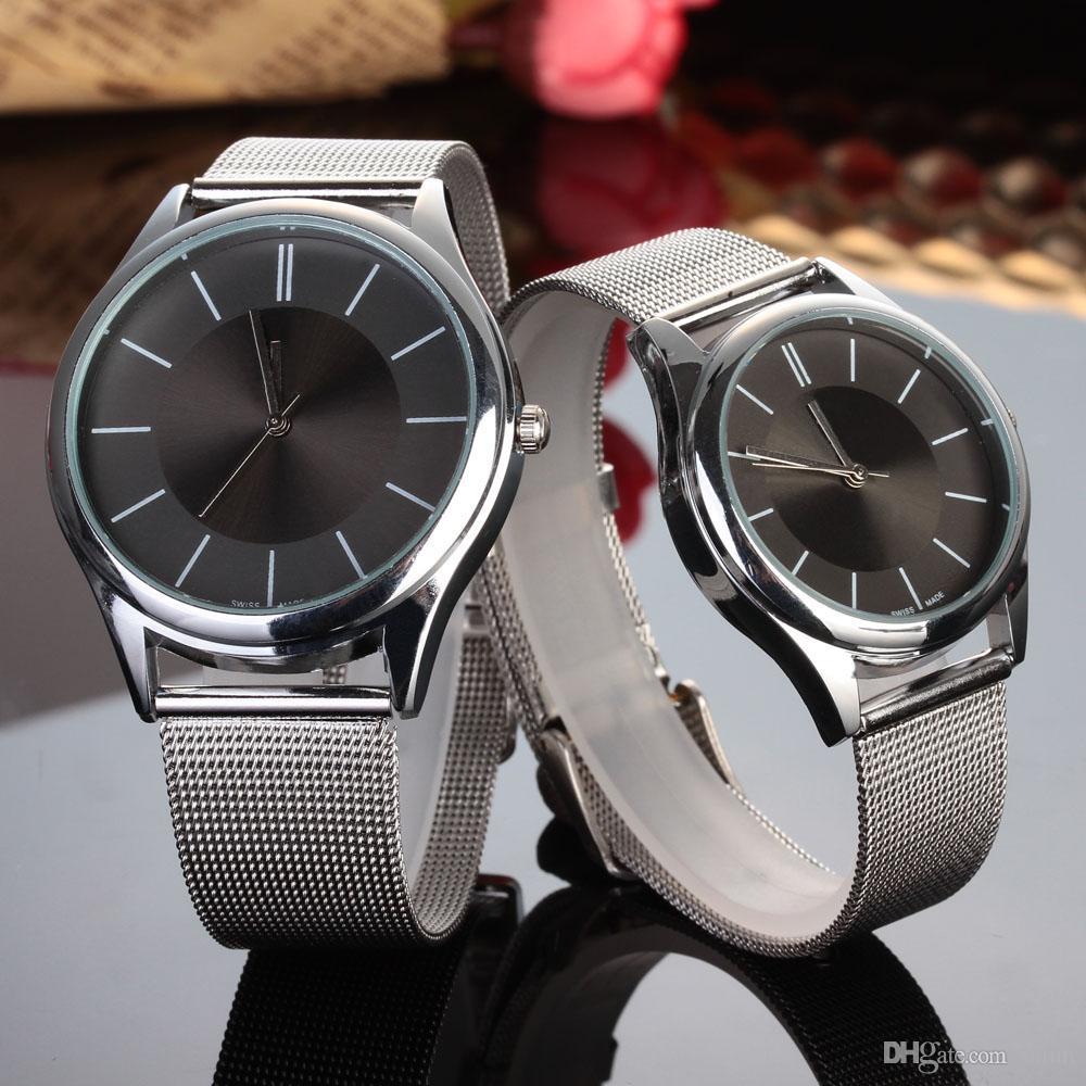 패션 브랜드 남여 연인 '실버 스틸 메탈 밴드 석영 손목 시계 C01 여성 남성 시계