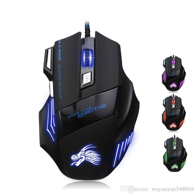 Professional Optical Wired Colorful Backlight Adjustable DPI Gaming Mouse Mice