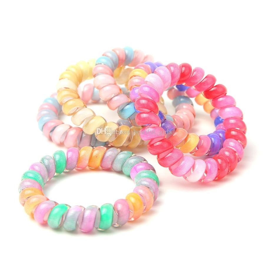 10Pcs/Lot 5cm Women Hairband Girl Colorful Elastic Rubber Hairband Rope Ponytail Holder Telephone Wire Rope Hair Tie Band Accessories