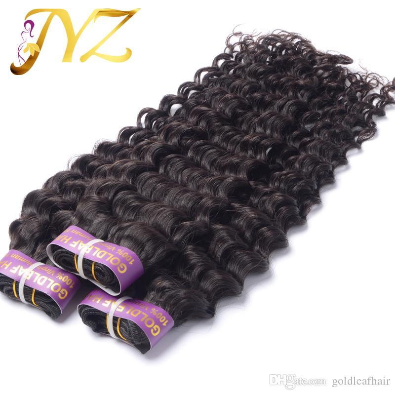 """Brazylijski Dziewiczy Włosy Peruwiańskie Malezyjskie Indian Włosy Wątek Weave 100% Nieprzetworzone 8 """"-30"""" Głębokie Wave Natural Color Extensions Hair Extensions 3 sztuk / partia"""