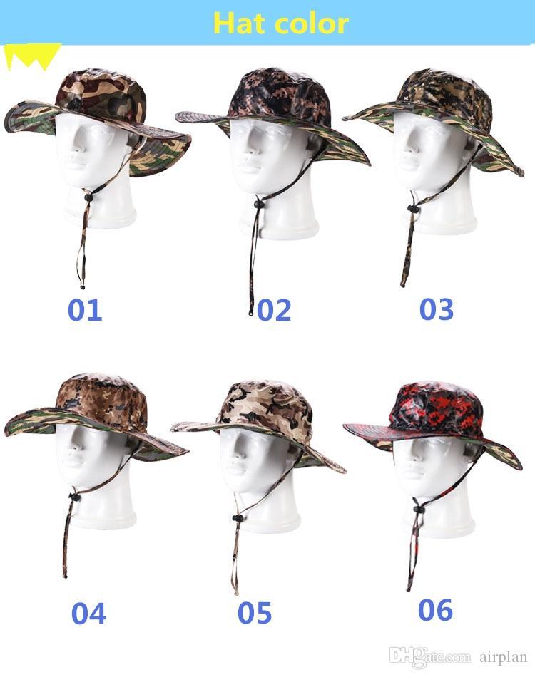 2017 nuova varietà di cappello del sole del cammuffamento lungo l'attrezzatura all'aperto di estate del cappello di pesca della giungla di avventura all'aperto di colore del confine