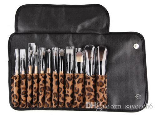 Set di strumenti professionali per pennelli per trucco professionale Set di pennelli per cosmetici portatile 12 pezzi con kit di borse leopardate di moda