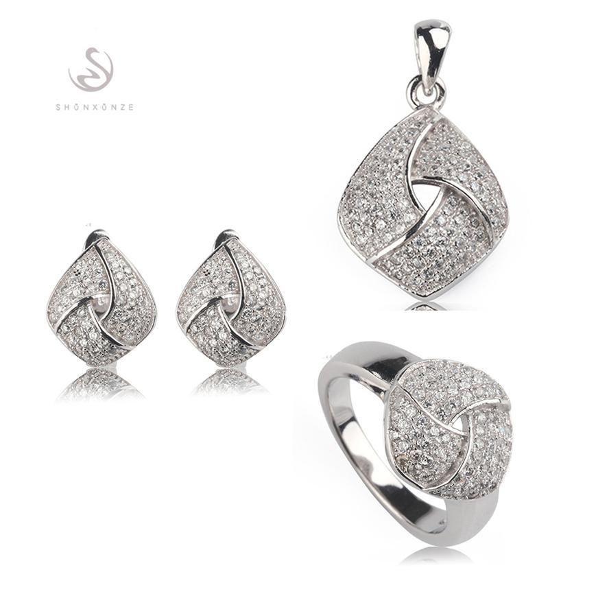 Kupfer rhodiniert Süßes Herz-Set (Ring / Ohrring / Anhänger) Weißer Zirkonia Edles Großzügiges MN3252set sz # 6 7 8 9 Empfehlen Sie ein neues Muster