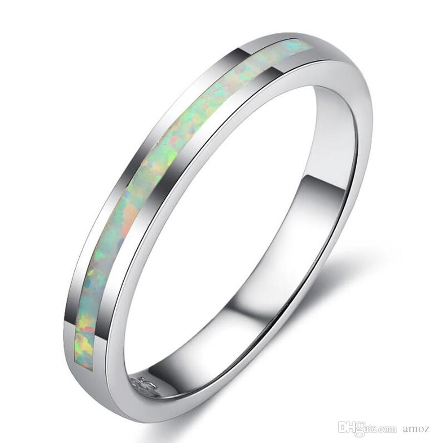 High Quality White Fire Opal Inlay 925 Sterling Silver Men/'s,Women/'s Ring 6-12