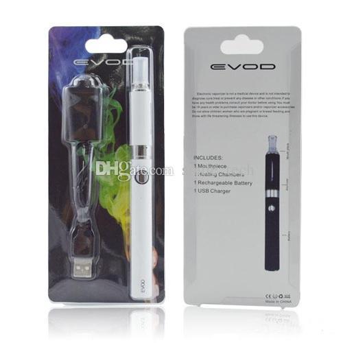 Ecig EVOD MT3 Blister Kit MT3 Starter Kit Evod Zerstäuber EVOD Batterie 650mAh 900mAh 1100mAh mit langen Draht USB-Ladegerät Blisterpackung DHL