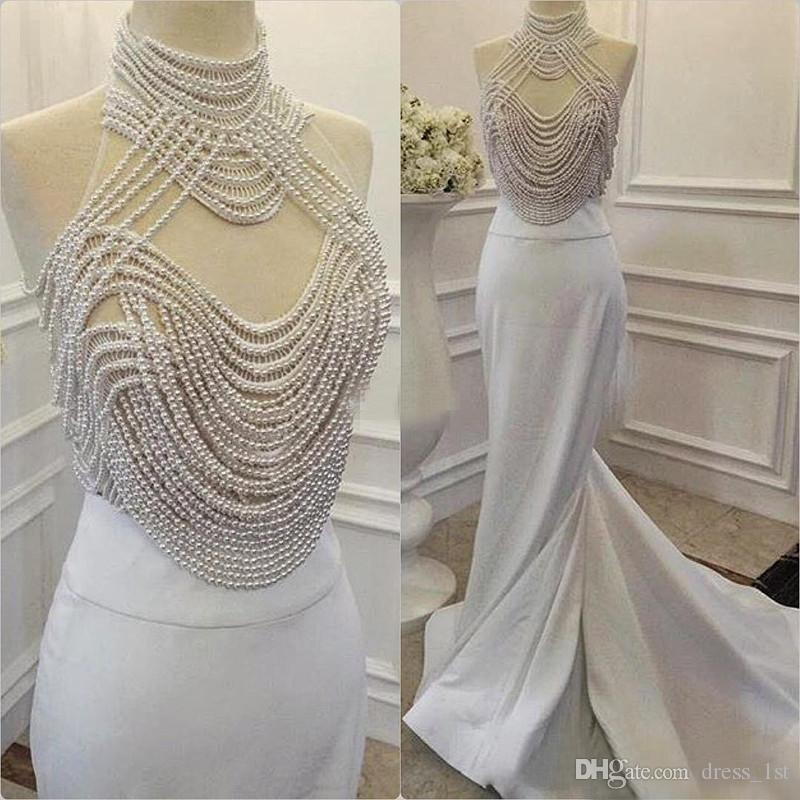 Luxury Evening Dresses 2018 White Satin High Neck Gorgeous Pearls Beading Sheer Top Mermaid Long Formal Party Prom Gowns Custom Made China