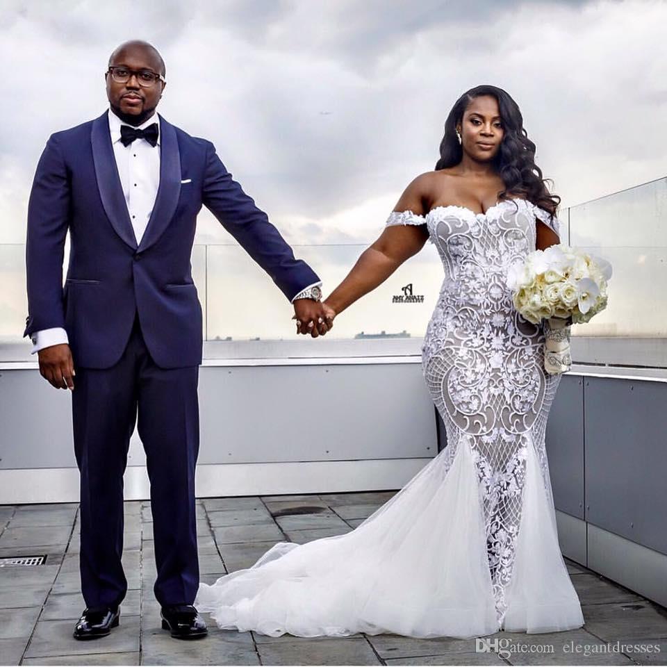 2018 Newest Mermaid Trumpet White Lace Off Shoulder Beach Plus Size  Designer Summer Wedding Dresses Bridal Gowns Wedding Dress For Cheap  Wedding Dress ...