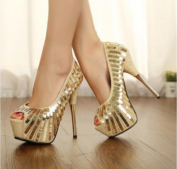 Fall new single shoes sexy luxury shiny fish mouth waterproof sequins metal stilettos Free shipping KF30