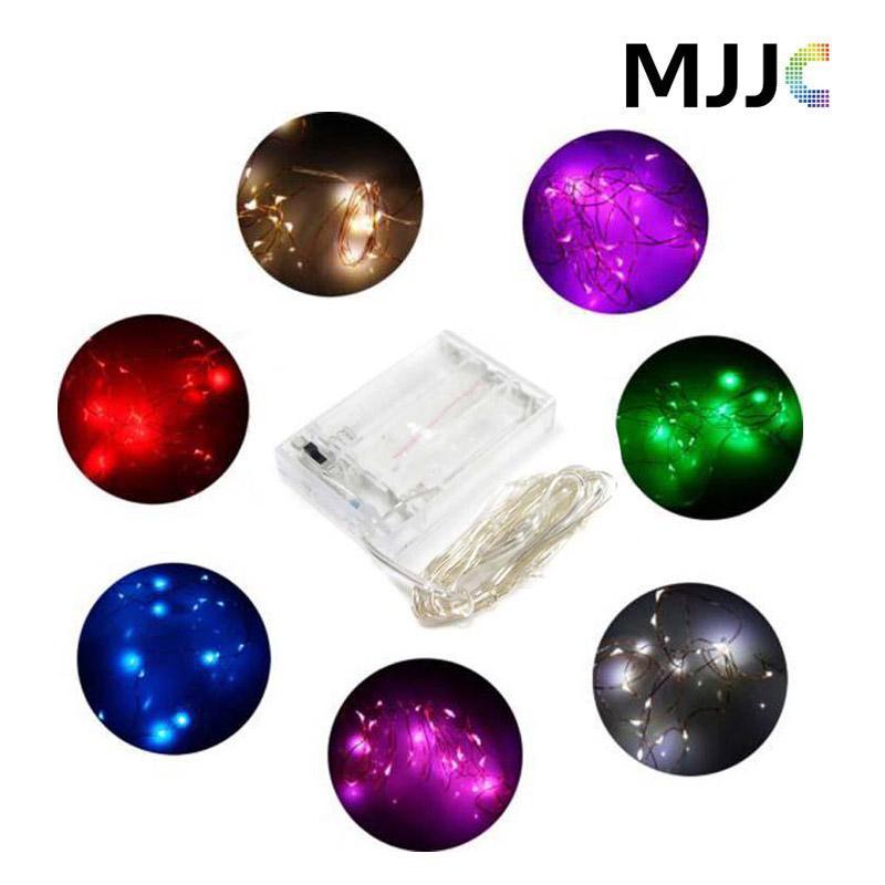 2M / 3M / 4M / 5M 파티 Xmas led 배터리 전원 20 30 40 50LEDs 구리 와이어 (실버 색상) 문자열 빛 램프