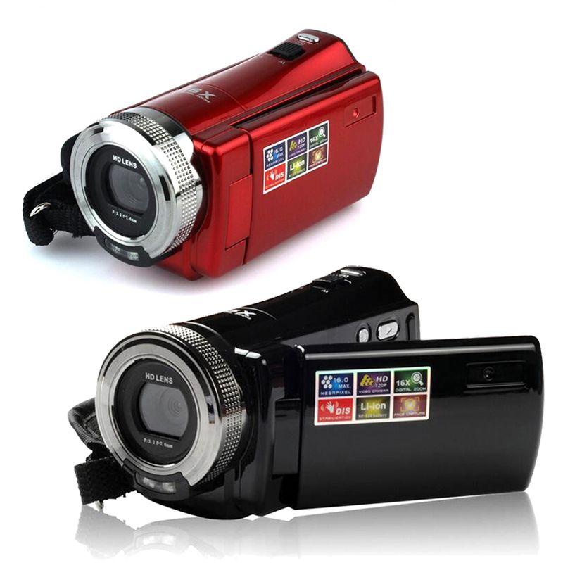 """HD 1280 * 720 كاميرا فيديو CMOS 16MP 2.7 """"TFT LCD كاميرا فيديو 16X تكبير رقمي للصدمات DV 720P مسجل أحمر أسود"""