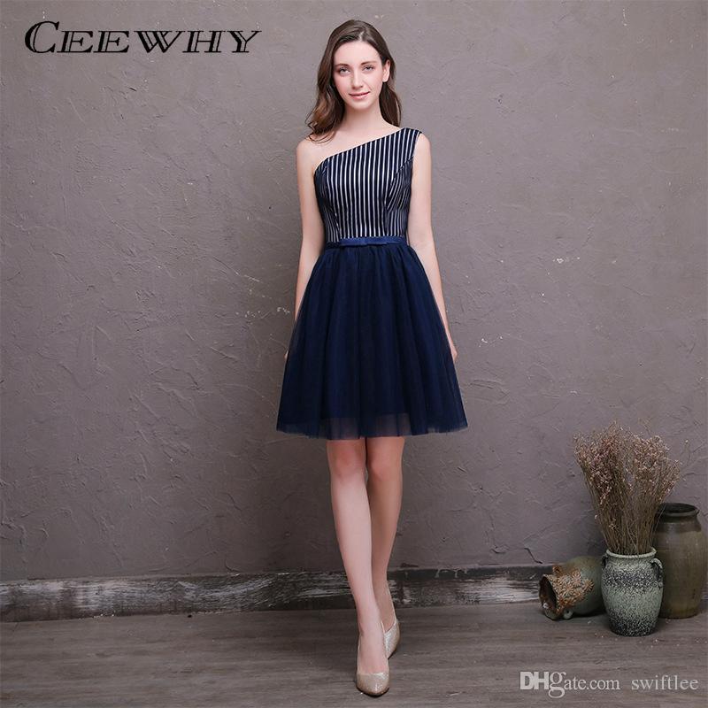 CEEWHY Un hombro a rayas azul marino Fiesta formal Vestido de fiesta Una línea Vestido de cóctel corto Novia elegante Vestido formal
