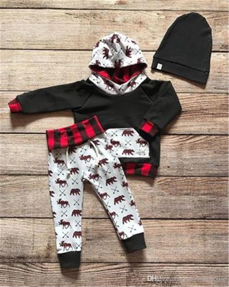 Рождественские Baby Одежда Устанавливает Новорожденные Мальчики Наряда Рождественские Олень Печатная Толстовка с капюшоном с капюшоном + Длинные Ногирующие Олень Брюки набор одежды