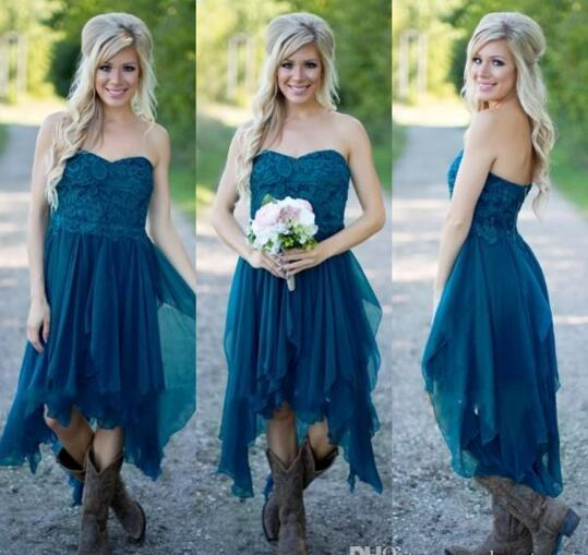 País Vestidos de dama de honor Cortos Hot Cheap For Wedding Teal Gasa Beach Lace High Low Ruffles Party Maid Vestidos de honor personalizados CPS576