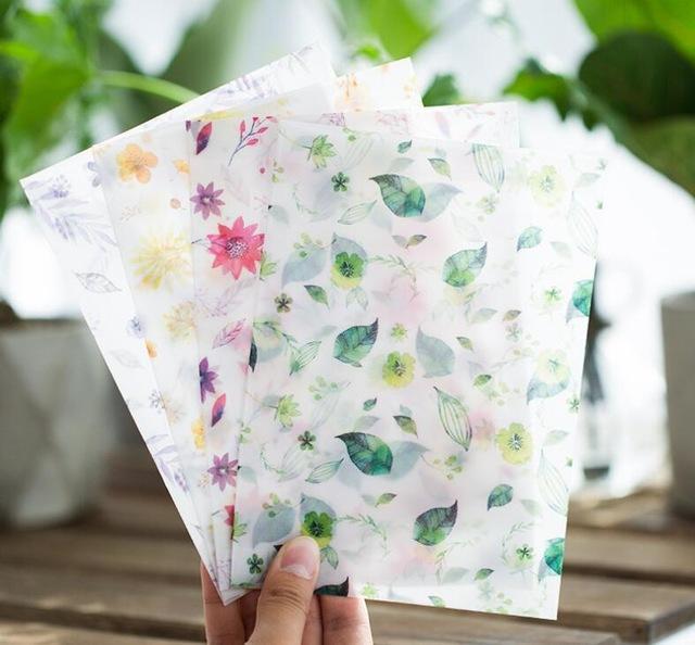 Wholesale-8Pcs/Set 4 Seasons Color Flower Plant Parchment Paper Envelope Postcard Photo Stroage Greeting Card Invitation Collect Envelope