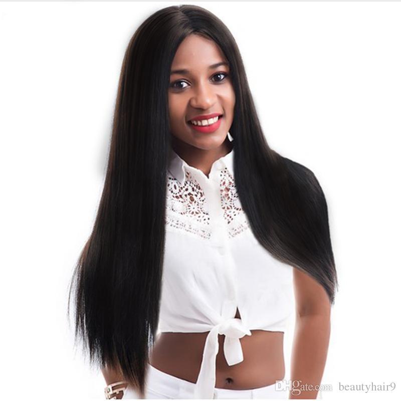 Kadınlar için orta bölümü ile en kaliteli uzun düz peruk Simülasyon insan saçı uzun ipeksi düz tam peruk