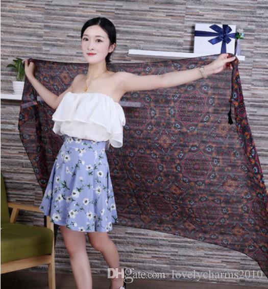2016 Hot Pashmina Cashmere Donne Sciarpa di cotone Scialle Wrap femminile delle donne sciarpe avvolge morbide frange Totem stampa di grandi dimensioni Natale