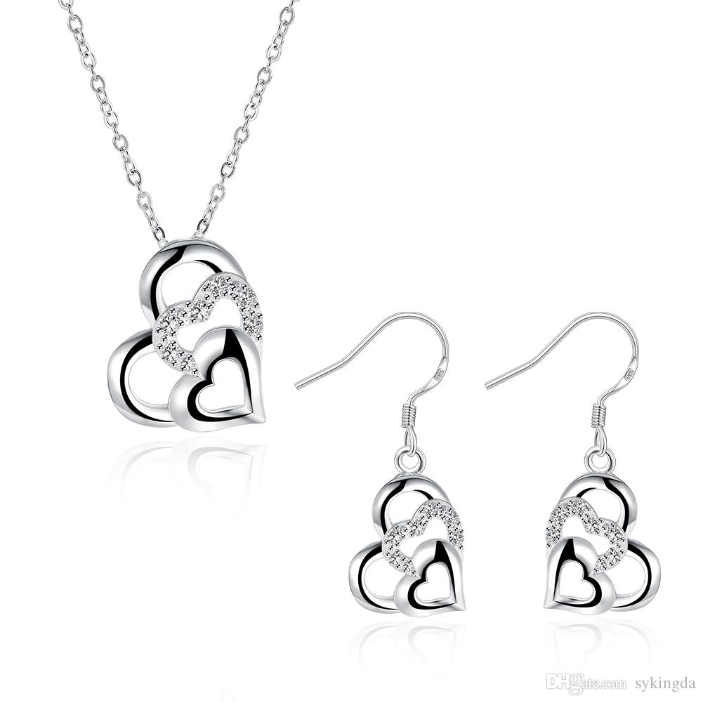 Classic 925 silver love heart necklaces earrings jewelry sets luxury link chain charm bling pendants chokers