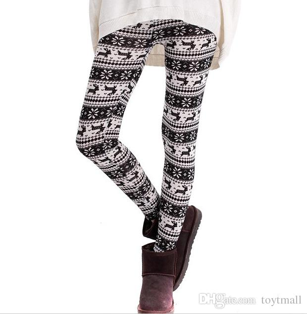 Colorful christmas snowflake leggings Printed Silk Legging girls Women spring Warm Pants free shipping in stock