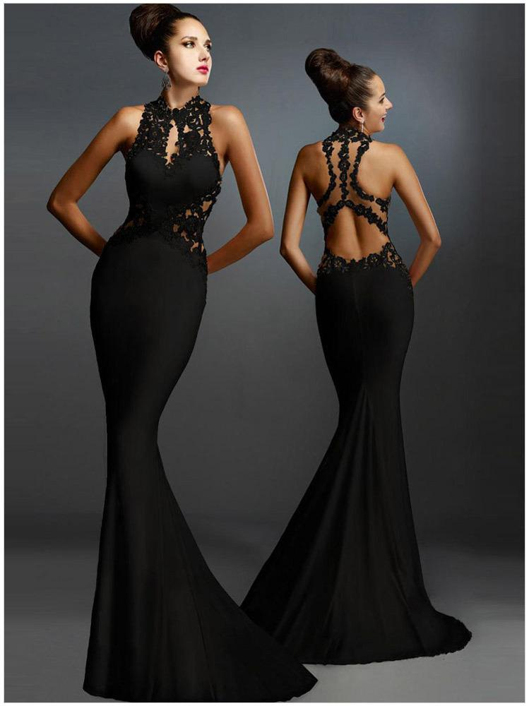94ae075805 ... Sexy evening dressess Long Black Open Back Prom Bridesmaid Party Evening  Dresses Formal Gown zuhair murad ...