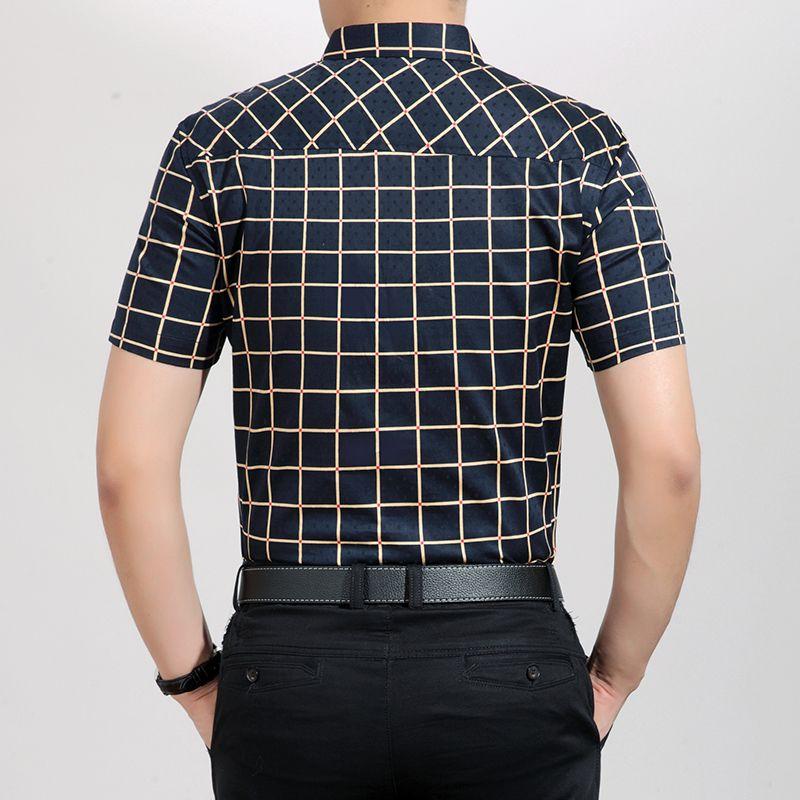 Camisa de hombre Camisa Masculina tamaño M-XXXL Camisa masculina de algodón mercerizado de manga larga y cuello al por mayor-hombre camisas de vestir de negocios a cuadros.