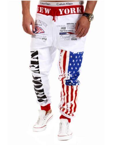 Wholesale-Top Design 2016 Persönlichkeit Casual Hosen Mens Jogger American Flag Star Print Hosen Overalls Sweatpants Hip Hop Pluderhosen