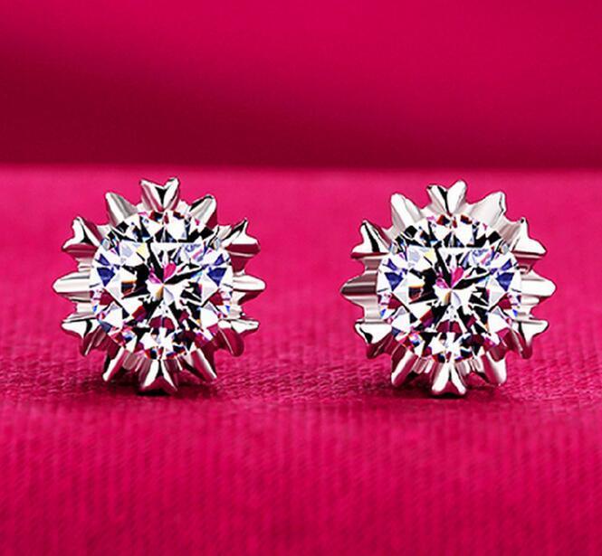 Orecchini in argento 925 Orecchini in cristallo naturale di moda all'ingrosso fiocco di neve orecchini Sutd con gioielli con diamanti CZ per le donne regalo di Natale