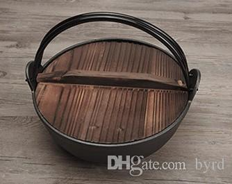 Gusseisen Topf mit Holzdeckel und Griff verdickte nicht Pfanne traditionellen japanischen alten dicken Eisentopf Suppentopf L25 * H8.5CM 049